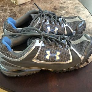 Under armor blue grey athletic running shoes Sz 9